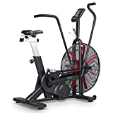 leikefitness Fan Exercise Bike Upright AirBike Indoor Cycling Stationary Bicycle with Unlimited Air Resistance System,Heart Rate Compatibility and Tablet Holder for Home Cardio Workout