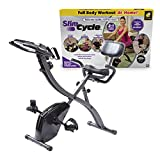 As Seen On TV Slim Cycle Stationary Bike by Bulbhead, Most Comfortable Exercise Machine, Thick, Extra-Wide Seat & Back Support Cushion, Recline or Upright Position, Twice the Results in Half the Time
