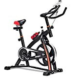 Goplus Adjustable Exercise Bike, Stationary bike, Indoor Cycle Bike, with Heart Rate Sensors, LCD Display, Professional Exercise Bike for Home and Gym Use