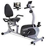 Maxkare Magnetic Recumbent Exercise Bike Indoor Stationary Bike with Adjustable Cushion Seat and Resistance,Pluse Monitor,Transport Wheels and Tablet Holder for Home Use