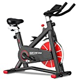 SYRINX Exercise Bike Indoor Cycling Bike Stationary Bikes for Home Gym Fitness Machine Belt Drive Excersize Bicycle Cardio Workout Heavy Flywheel Digital Monitor