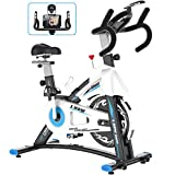 L NOW Indoor Exercise Bike Indoor Cycling Stationary Bike, Belt Drive with Heart Rate, Adjustable Seat and Handlebar, Tablet Holder, Stable Quiet and Smooth for Home Cardio Workout(D600)