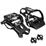 BV Bike 9/16'' Pedals with Toe Clips (SPD Cleats included) Shimano SPD Compatible - Spin/Indoor/Exercise Bike Pedals Compatible with Peloton