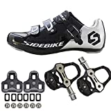 21Grams SIDEBIKE Men's Cycling Shoes,Breathable Cushioning Road Bike Shoes with Pedals & Cleats Black