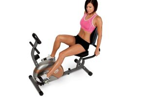 Exercise bikes with back support